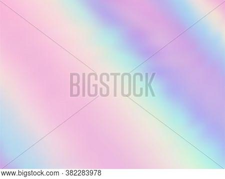 Neon Holographic Paper Fluid Gradient Backdrop. Lucent Pastel Rainbow Unicorn Background. Polar Ligh