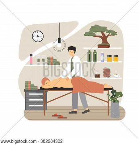 Massage Therapist, Masseur Giving Back Massage To Man Lying On Table, Flat Vector Illustration