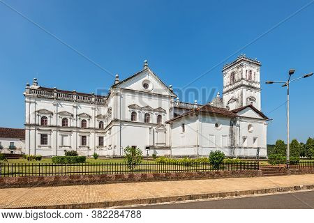 Old Goa, India - November 23, 2019: View Of The Roman Catholic Se Cathedral In Old Goa, India.