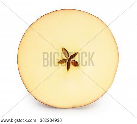 Red Apple Slice Isolated On White Background With Clipping Path And Full Depth Of Field