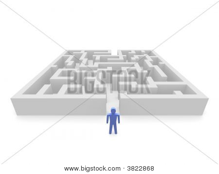 Person In Front Of Labyrinth