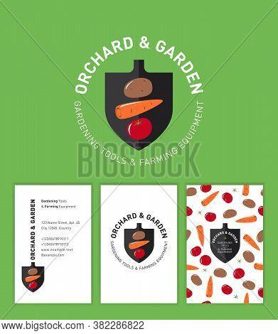 Orchard And Garden Logo. Gardening Tools And Farming Equipment. Logo Consist Of Symbol Gardening Sho