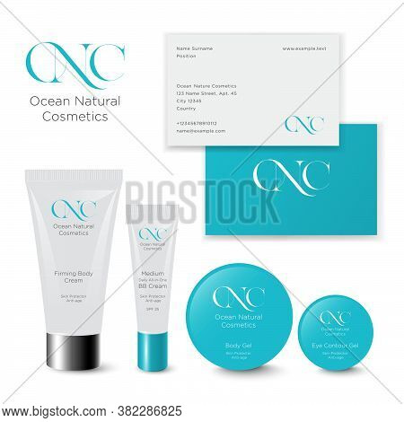 Ocean Natural Cosmetics Logo. O, N And C Monogram. Health Care Cosmetics Logo And Packaging. Turquoi