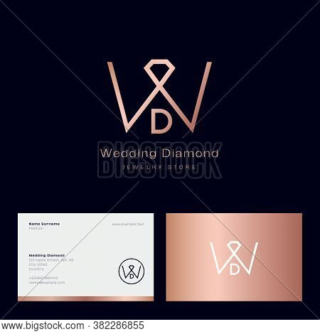 Jewelry Shop Logo. Wedding Diamond Boutique Emblem. W And D Elegant Gold Monogram With Diamond Gem S