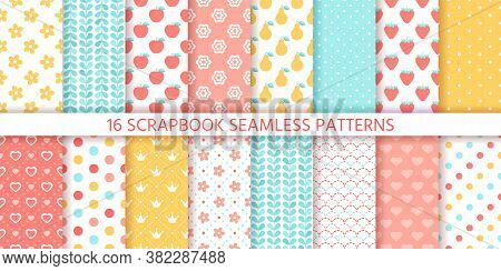 Scrapbook Seamless Pattern. Vector. Cute Backgrounds. Set Textures With Polka Dots, Flowers, Fruits,