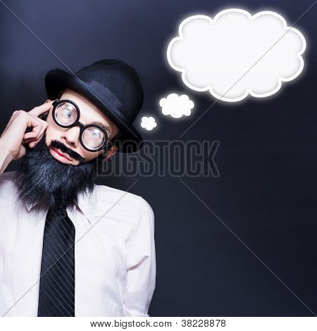 Intelligent Business Man Thinking Up Clever Idea