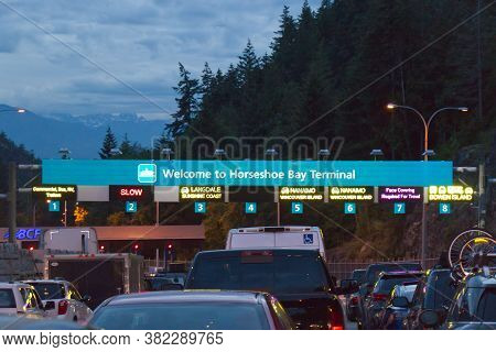 Vancouver, Canada - July 16, 2020: Horseshoe Bay Terminal With Cars Lining Up To Board Bc Ferries Du