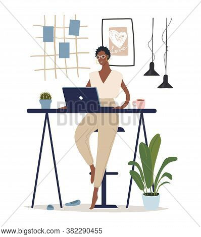 A Modern Black Woman Sits At A Table And Works At A Computer. Concept Illustration About Home Office