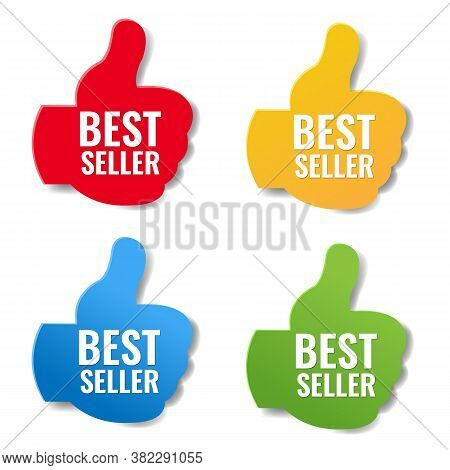 Bestseller Labels Big Set Isolated White Background With Gradient Mesh, Vector Illustration
