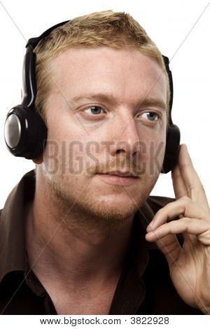 Red Head With Headphones