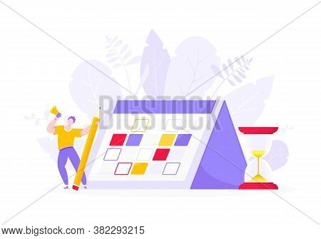 Calendar Planning Schedule Business Concept Vector Illustration. Tiny Person With Pencil, Big Hourgl
