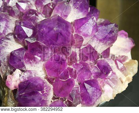 Close Up On Single Purple Amethyst Crystal Mineral Sample