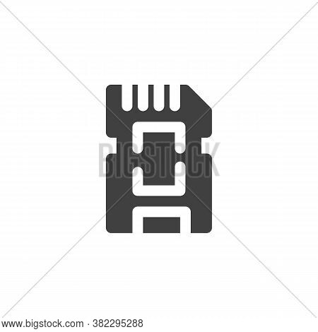 Micro Sd Card Vector Icon. Filled Flat Sign For Mobile Concept And Web Design. Memory Sd Card Glyph