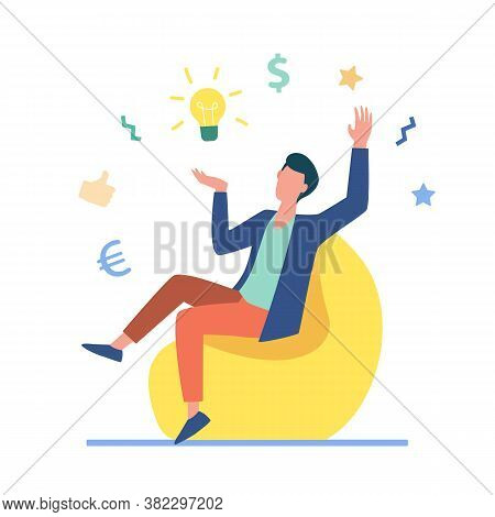 Entrepreneur Finding Brilliant Idea. Excited Man With Shining Bulb Above Him Flat Vector Illustratio