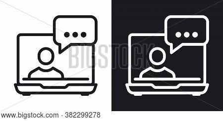 Video Conference, Online Meeting Or Webinar Icon. Human On Laptop Screen. Home Office Concept. Simpl