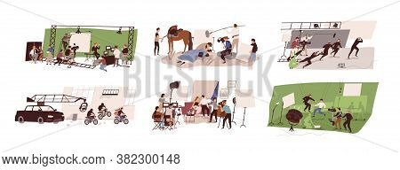 Set Of Scenes At Film Studio Building Interior Vector Flat Illustration. Collection Of Filmmakers Te