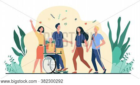 Disabled People Help And Diversity. Handicapped People With Cane And In Wheelchair Meeting With Frie