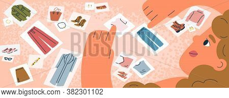 Female Fashion Stylist Choose Pictures With Clothing Or Collect Sets Of Clothes Vector Flat Illustra