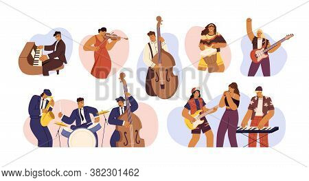 Set Of People With Different Musical Instrument Vector Flat Illustration. Collection Of Music Bands,