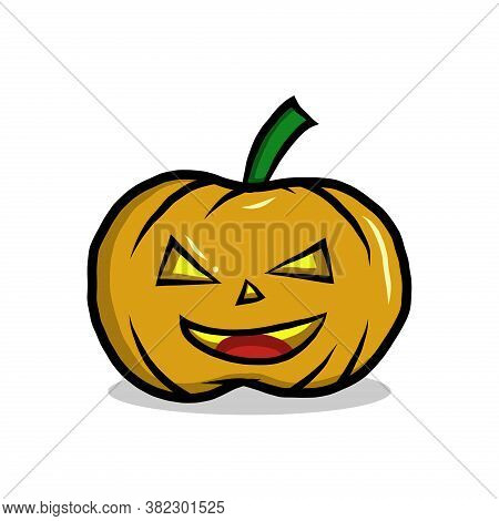Halloween Pumpkin. Vector Cartoon Pumpkin Faces. Illustration Halloween Scared Face, Pumpkin Smile.