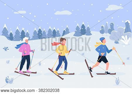 Winter Skiing Semi Flat Vector Illustration. Grandma Spend Quality Time With Children. Kids Play In