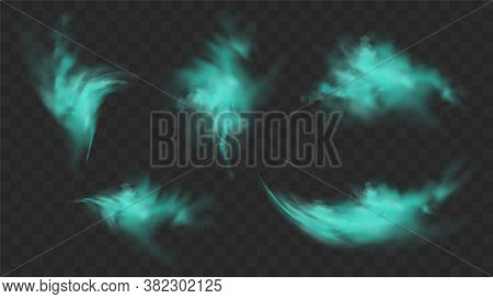 Blue Smoke Set Isolated On Dark Transparent Background. Realistic Blue Magic Mist Cloud, Chemical To