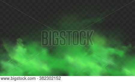 Green Smoke Isolated On Transparent Background. Realistic Green Bad Smell, Magic Mist Cloud, Chemica