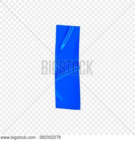 Blue Duct Repair Tape Isolated On Transparent Background. Realistic Blue Adhesive Tape Piece For Fix