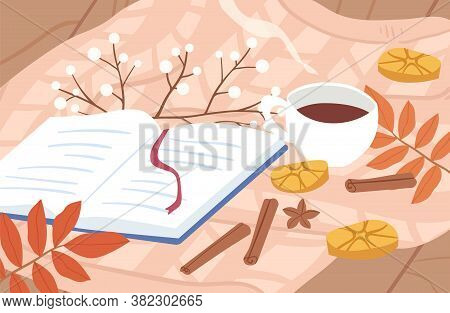 Cozy Autumn Outdoor Picnic Composition With Open Book And Hot Tea Or Coffee With Cinnamon In Cup Vec