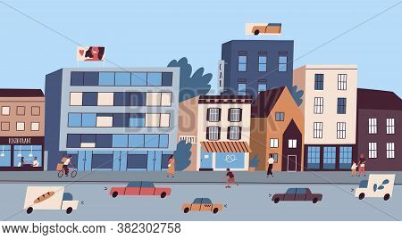 Daily Big City Life With Buildings, Citizens, Traffic Cars Vector Flat Illustration. Architecture Or