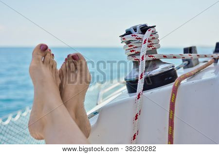 Relaxing On A Sailboat