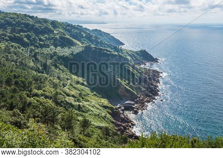 Aerial View Of San Sebastian Cliff, Donostia, Spain On A Beautiful Summer Day.