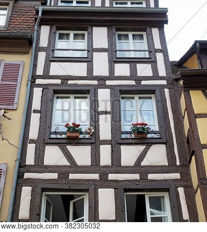 Colmar, France On July 20, 2020; Petite Venice, Water Canal And Traditional Half Timbered Houses. Co