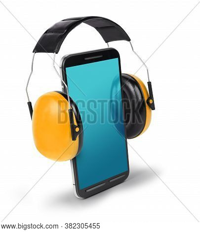 Smart Phone With Ear Protectors, Loud Speaking Conceptual Illustration