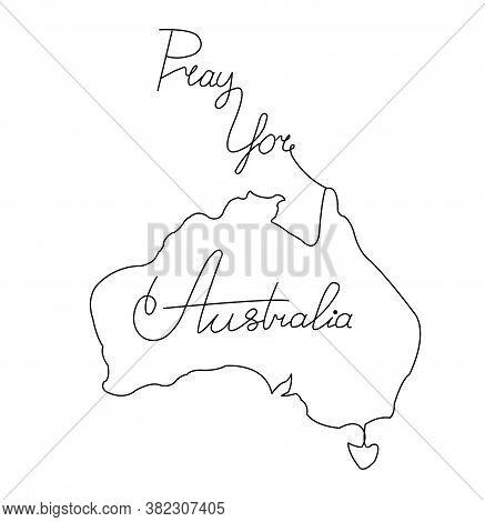 Line Art Image Of Australia And Lettering. Pray For Australia.