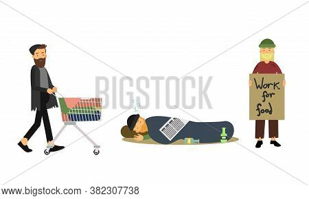 Homeless Bearded Male Standing With Cardboard Sign Begging For Help Vector Illustration Set