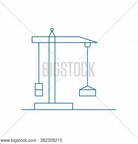 Construction Crane. Building Crane Icon On White Background. Jenny With Hook Using In Construction I