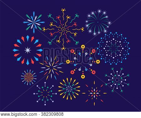 Festive Fireworks On A Night Background. Colorful Bright Fireworks In The Night Sky. Celebration Fir
