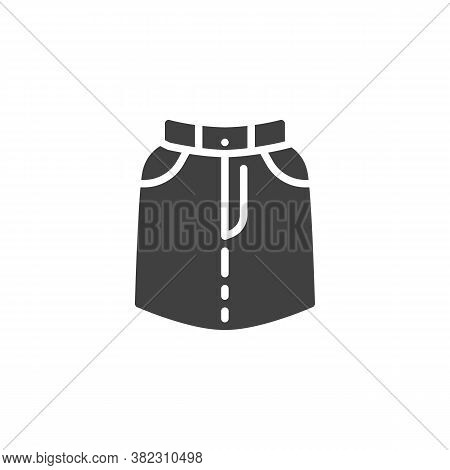 Skirt With Pockets Vector Icon. Filled Flat Sign For Mobile Concept And Web Design. Short Skirt Glyp