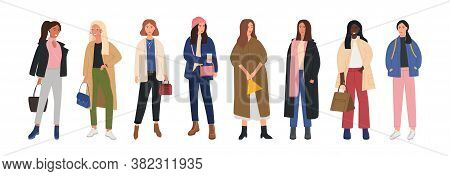 Collection Of Female Characters Dressed In Trendy Fashion Clothes. Set Of Fashionable Cute Girls In