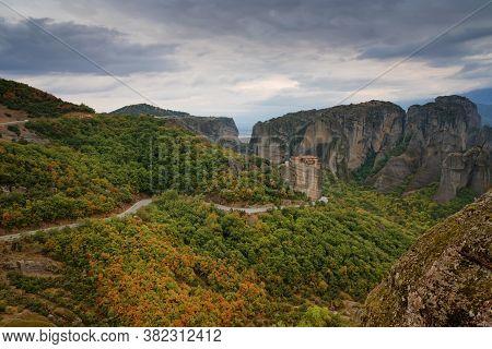 Beautiful Scenic View, Orthodox Monastery Of Rousanou (st. Barbara), Immense Monolithic Pillar, Gree