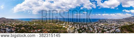 Athens Greece Panorama. Aerial Drone View Of Vouliagmeni And Kavouri, Sunny Summer Day