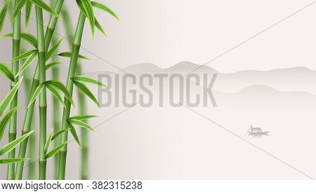 Japan Landscape With Green Bamboo And A Fishman