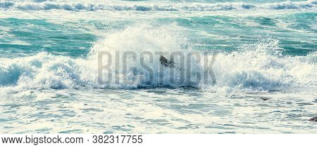 Rough Sea In Porto Ferro Coast. Sardinia, Italy