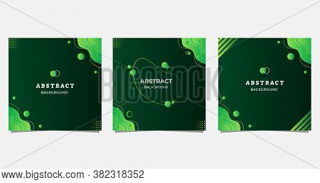Set Of Minimalist Abstract Background With Modern Liquid Green Gradient And Wave Shape. Perfect For