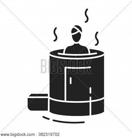 Cedar Barrel Black Glyph Icon. Organic Herbal Aroma Steam Sauna For One Person. Pictogram For Web Pa