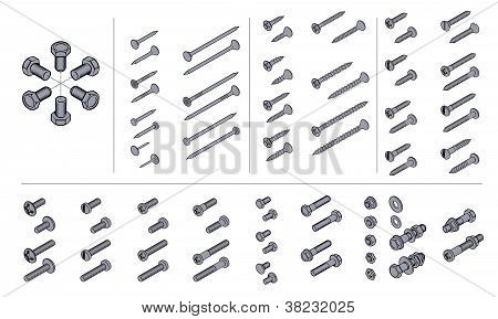 screws, nuts and nails in isometric view