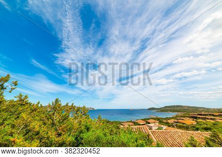 Clouds Over Capo Coda Cavallo Coastline. Sardinia, Italy