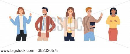 A Group Of Attractive Confident People Concept. The Team Actively Expresses Their Emotions. Cheerful