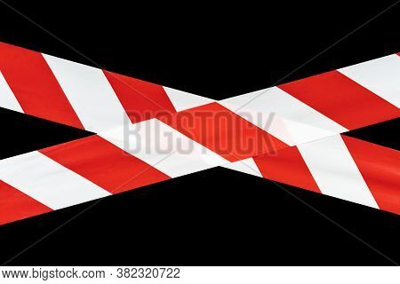 Red And White Warning Caution Tape Isolated On Black Background With Clipping Path. Red And White Li
